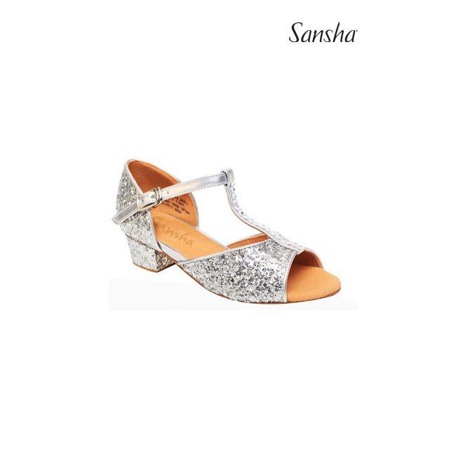 Sandale Sansha Ballroom cu sclipici ALEXA BK13046GL