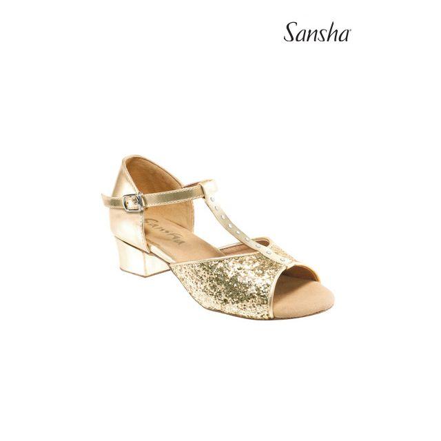 Sandale Sansha Ballroom cu sclipici ANA BK13048GL
